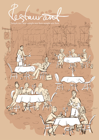 laptop outside: People at restaurant, outdoor cafe - Hand drawn vertical background with sample text Illustration