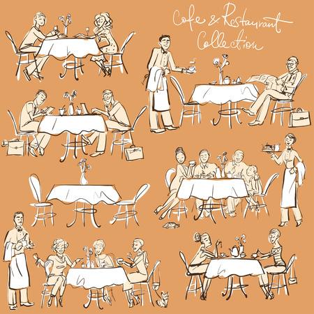 pareja comiendo: La gente en el café restaurante - dibujado a mano la colección. Clipart Vectores