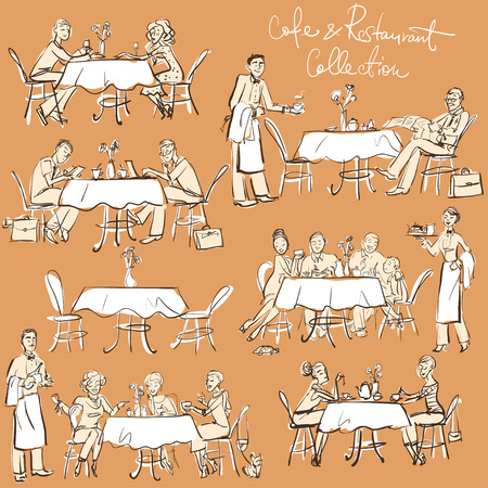 laptop outside: People at cafe and restaurant - Hand drawn Collection. Clip Art Illustration