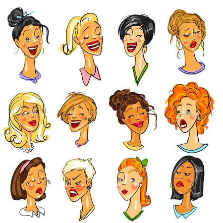 여성 얼굴 - 식 집합입니다. 콜렉션, 만화 클립 아트