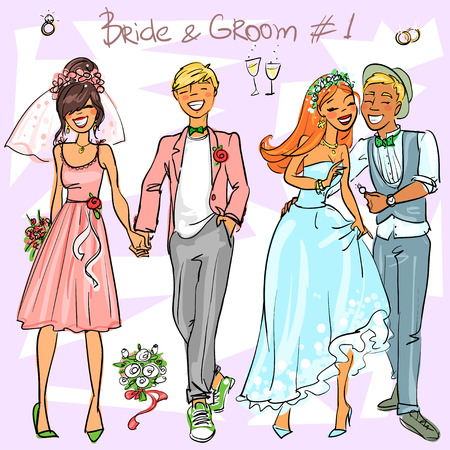 cartoon bouquet: Bride and Groom set 1, Hand drawn Wedding Couples Illustration