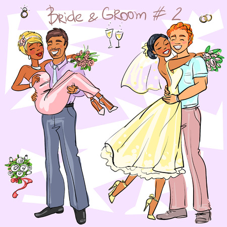vows: Bride and Groom set 2, Hand drawn Wedding Couples