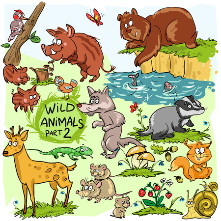 cartoon berries: Wild animals, hand drawn collection, part 2. All animals are isolated groups so you can move and separate them