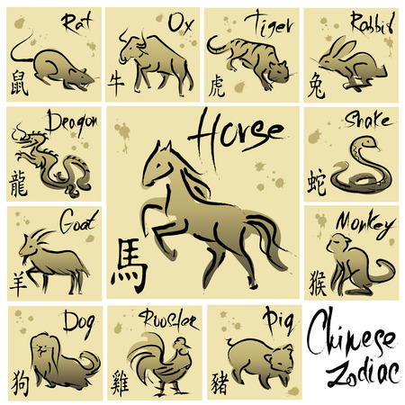 chinese script: Chinese Zodiac, Set of 12 Animal symbols