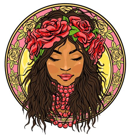 Retrato de mujer hermosa en la frontera floral, icono, mano dibujada