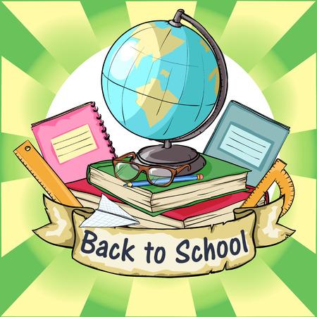 escuela caricatura: Volver al icono de la escuela con la bandera de la cinta y el texto de la muestra.