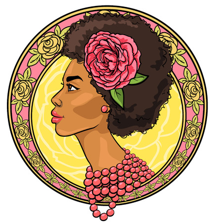 black woman face: Portrait of beautiful woman in floral border, Icon, hand drawn