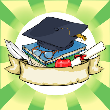 hand drawn cartoon: Back to School icon with ribbon banner and sample text. Illustration