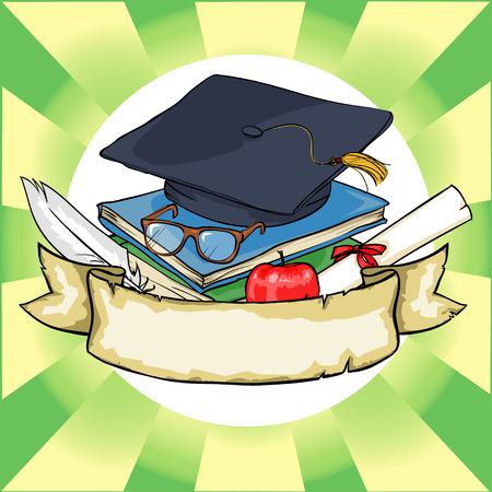 graduacion caricatura: Volver al icono de la escuela con la bandera de la cinta y el texto de la muestra.