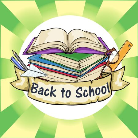 Back to School icon with ribbon banner and sample text. Stock fotó - 42441301