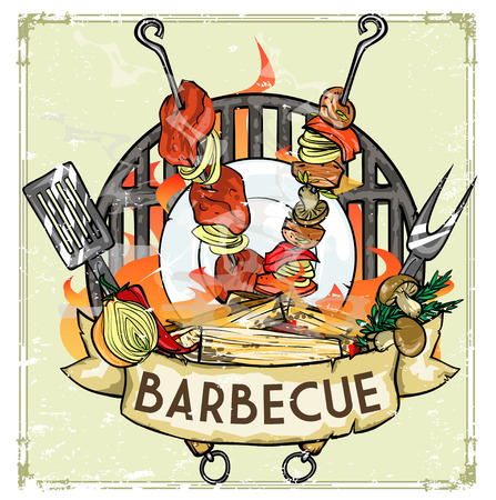 shish kebab: BBQ Grill icon design - Barbecue Collection Illustration with sample text