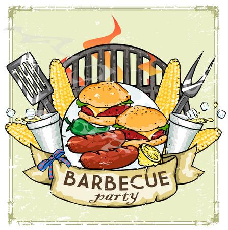 parrillero: BBQ Grill icono de diseño - Barbacoa Colección de ilustraciones con texto de ejemplo Vectores