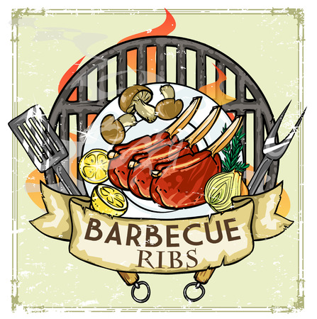 barbecue ribs: BBQ Grill icon design - Barbecue Collection Illustration with sample text