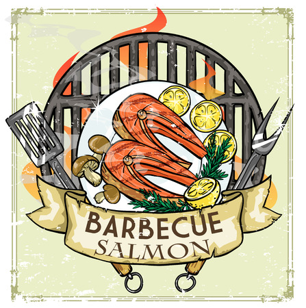 pork ribs: BBQ Grill icon design - Barbecue Collection Illustration with sample text