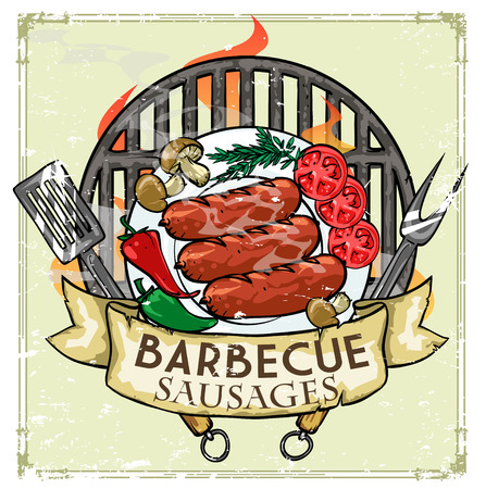 bbq ribs: BBQ Grill icon design - Barbecue Collection Illustration with sample text