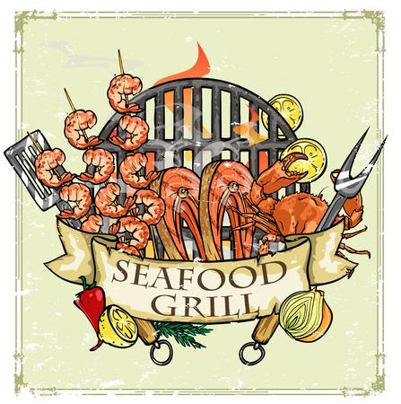 camaron: BBQ Grill icono de diseño - Barbacoa Colección de ilustraciones con texto de ejemplo Vectores