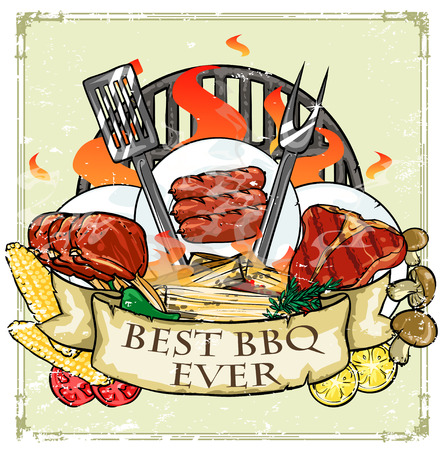 BBQ Grill design - Barbecue Collection Illustration with sample text