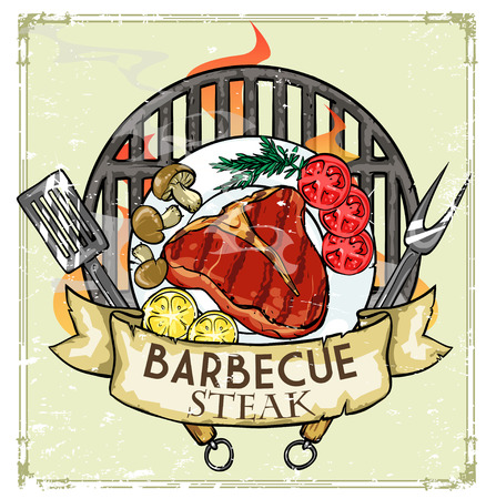 bbq ribs: BBQ Grill design - Barbecue Collection Illustration with sample text