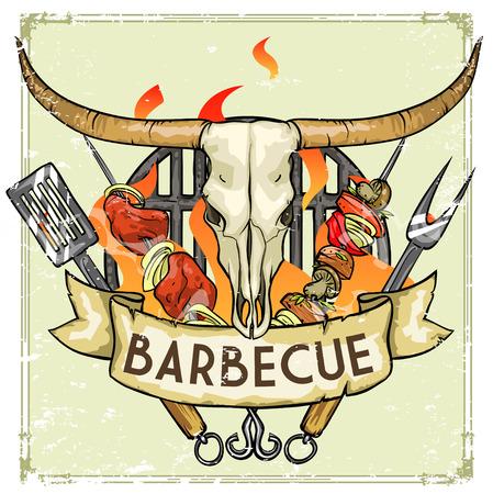 costillas de cerdo: Parrilla de dise�o - Barbacoa Colecci�n de ilustraciones con texto de ejemplo