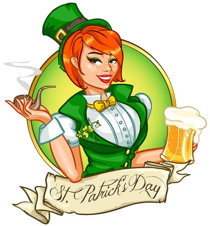 Beautiful leprechaun girl with beer, St. Patricks Day Pin Up Girl 일러스트