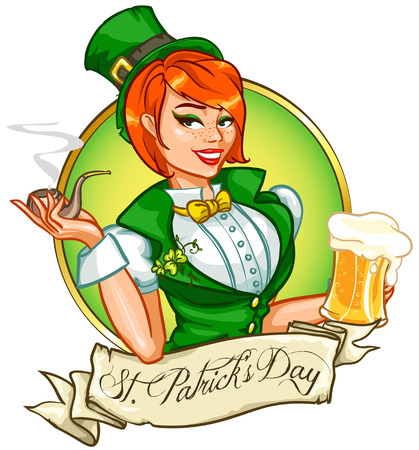 red head girl: Beautiful leprechaun girl with beer, St. Patricks Day Pin Up Girl Illustration