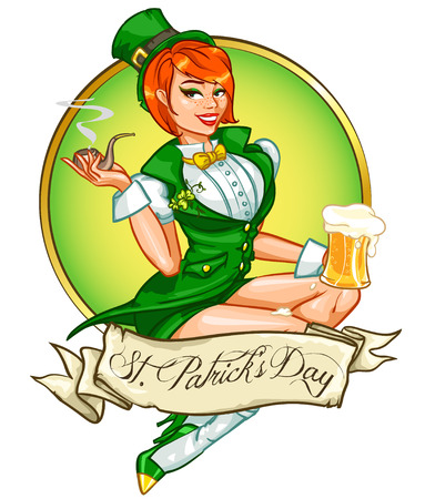 cartoon carnival: Beautiful leprechaun girl with beer, St. Patricks Day Pin Up Girl Illustration