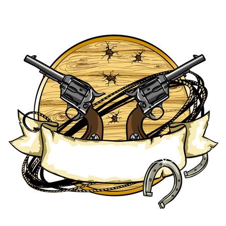 oeste: Diseño Wild West etiqueta con bandera de la cinta y el espacio para el texto en él.