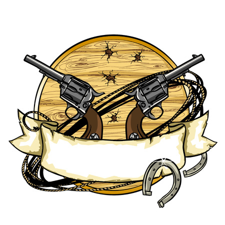 shooting gun: Wild West label design with ribbon banner and space for text on it.