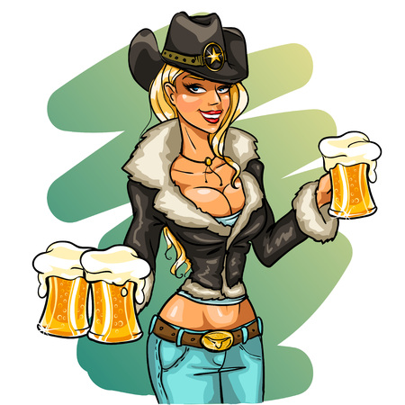 cowgirl and cowboy: cowgirl holding glasses of beer, isolated