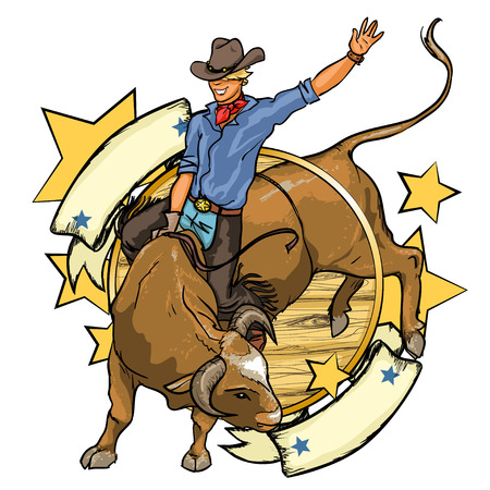 old west: Rodeo Cowboy riding a bull, design with space for text, isolated