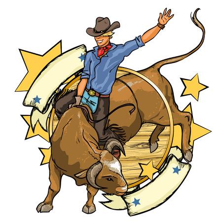 vaquero: Vaquero del rodeo que monta un toro, diseño con espacio para el texto, aislado
