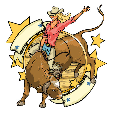 rodeo cowgirl: Rodeo Cowgirl riding a bull, design with space for text, isolated Illustration