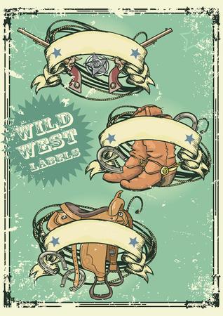 botas vaqueras: Estilo retro Wild West dise�os con banderas de la cinta y el espacio para el texto en �l. Efecto grunge es extra�ble Vectores