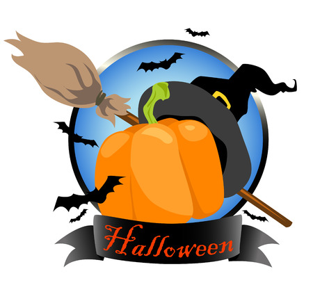 costume party: Halloween design with witch hat, pumpkin and broom, isolated