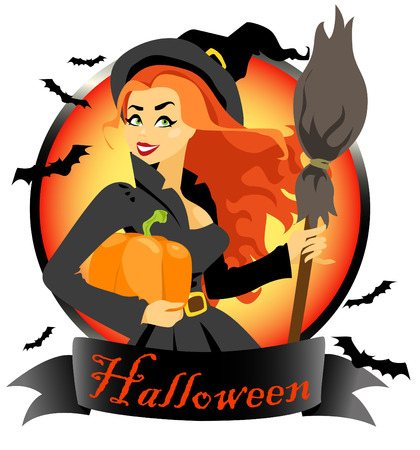 halloween witch: Halloween witch with pumpkin and broomstick. Halloween label isolated