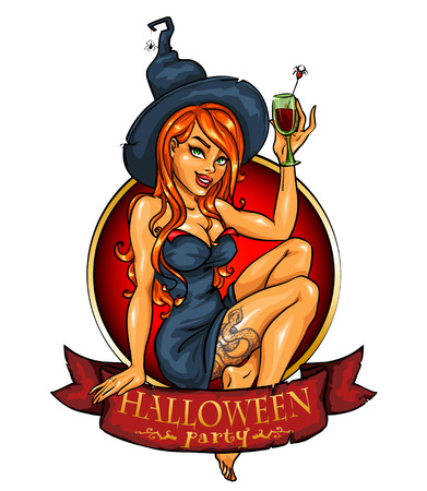Witch with pumpkin cocktail. Halloween label with ribbon banner, isolated Illustration