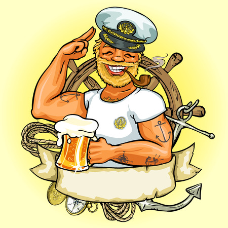 ancre marine: conception de l'étiquette de Sailor, Illustration avec ruban bannière et espace pour le texte