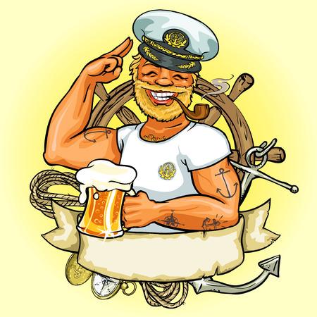 hombre fumando: Dise�o de la etiqueta Marinero, Ilustraci�n con bandera de la cinta y el espacio para el texto Vectores