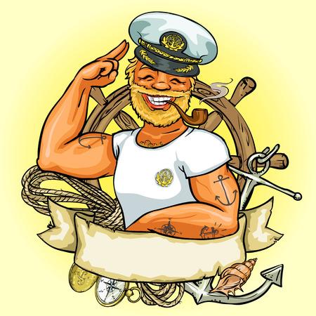 hombre fuerte: Diseño de la etiqueta Marinero, Ilustración con bandera de la cinta y el espacio para el texto Vectores