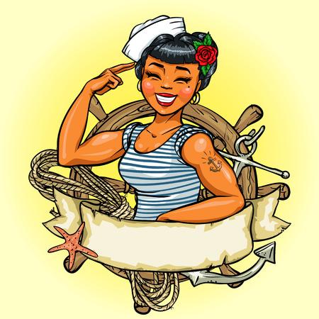 pesca: Diseño del chica retro, ilustración con bandera de la cinta y el espacio para el texto