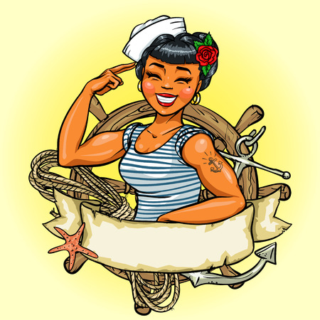 pin up vintage: Disegno ragazza retrò, illustrazione con nastro banner e lo spazio per il testo Vettoriali