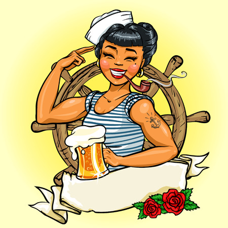 beer party: Retro Girl design, Illustration with ribbon banner and space for text