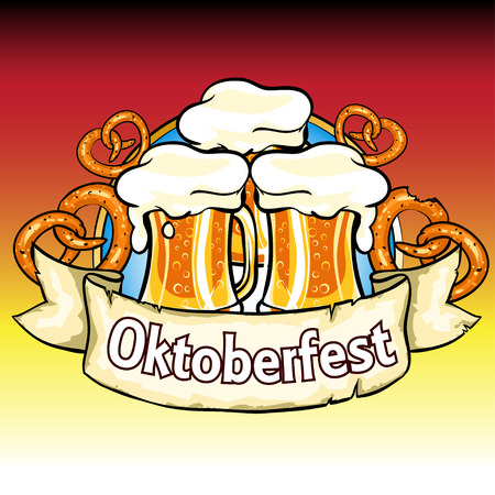 Oktoberfest label with beer and pretzels. Isolated