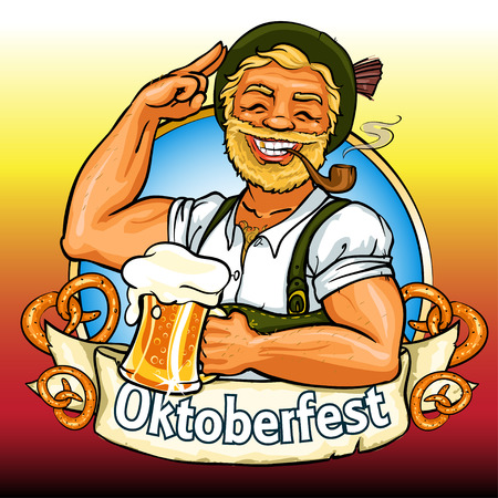 Smiling Bavarian man with beer and smoking pipe, Oktoberfest label with ribbon banner and space for text, isolated Vettoriali