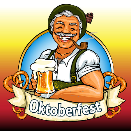 german tradition: Smiling Bavarian man with beer and smoking pipe, Oktoberfest label with ribbon banner and space for text, isolated Illustration