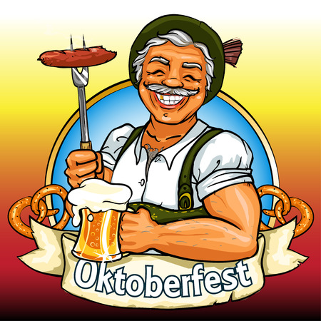 Smiling Bavarian man with beer and smoking sausage, Oktoberfest label with ribbon banner and space for text, isolated