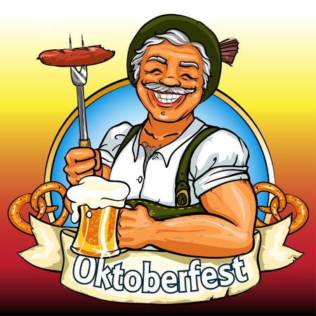 embutidos: Sonriente hombre de Baviera con cerveza y fumar salchicha, etiqueta de Oktoberfest con bandera de la cinta y el espacio para el texto, aislado