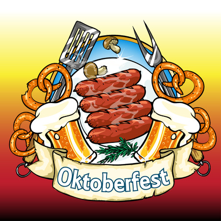 chequered ribbon: Oktoberfest label with beer, pretzels and sausages. Isolated