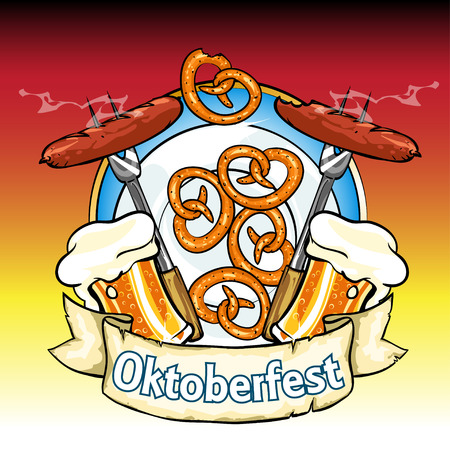 irish pub: Oktoberfest label with beer, pretzels and sausages. Isolated