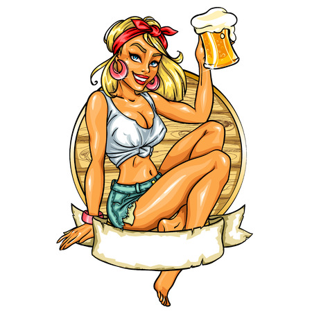 beach breast: Pretty Pin Up Girl holding beer mug. label with space for text.